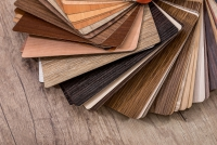 many thin wooden samples for interior design